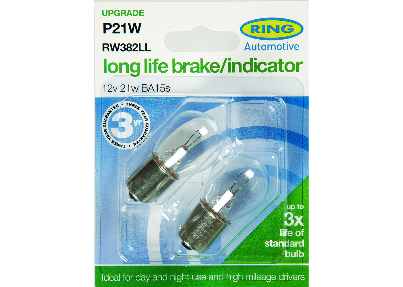 P21W Long Life Brake/Indicator/Reverse/Rear Fog Bulb | RW382LL | Ring