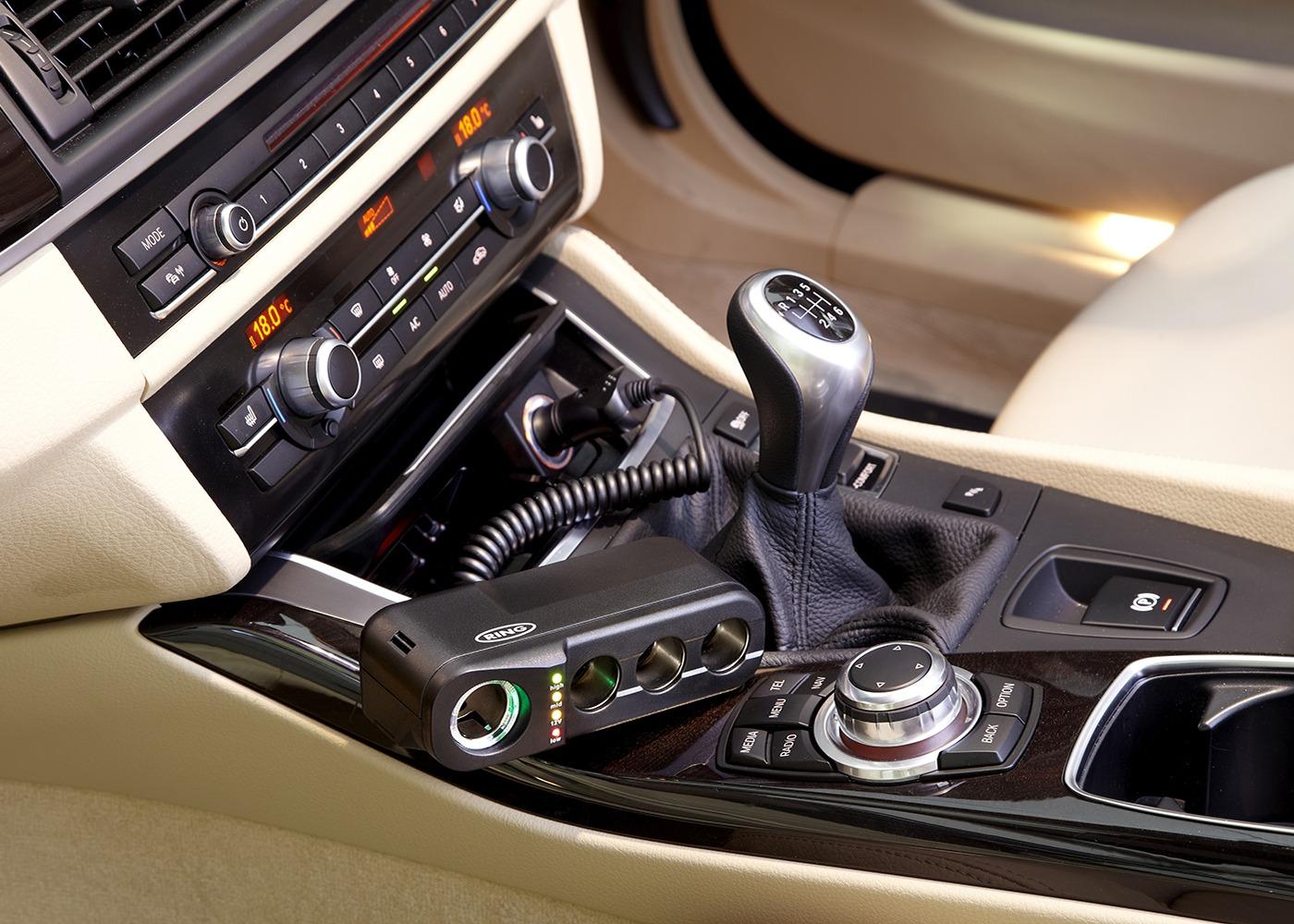 Ring Automotive 12V Multi Socket Car Adaptor Battery Analyser For Electricals