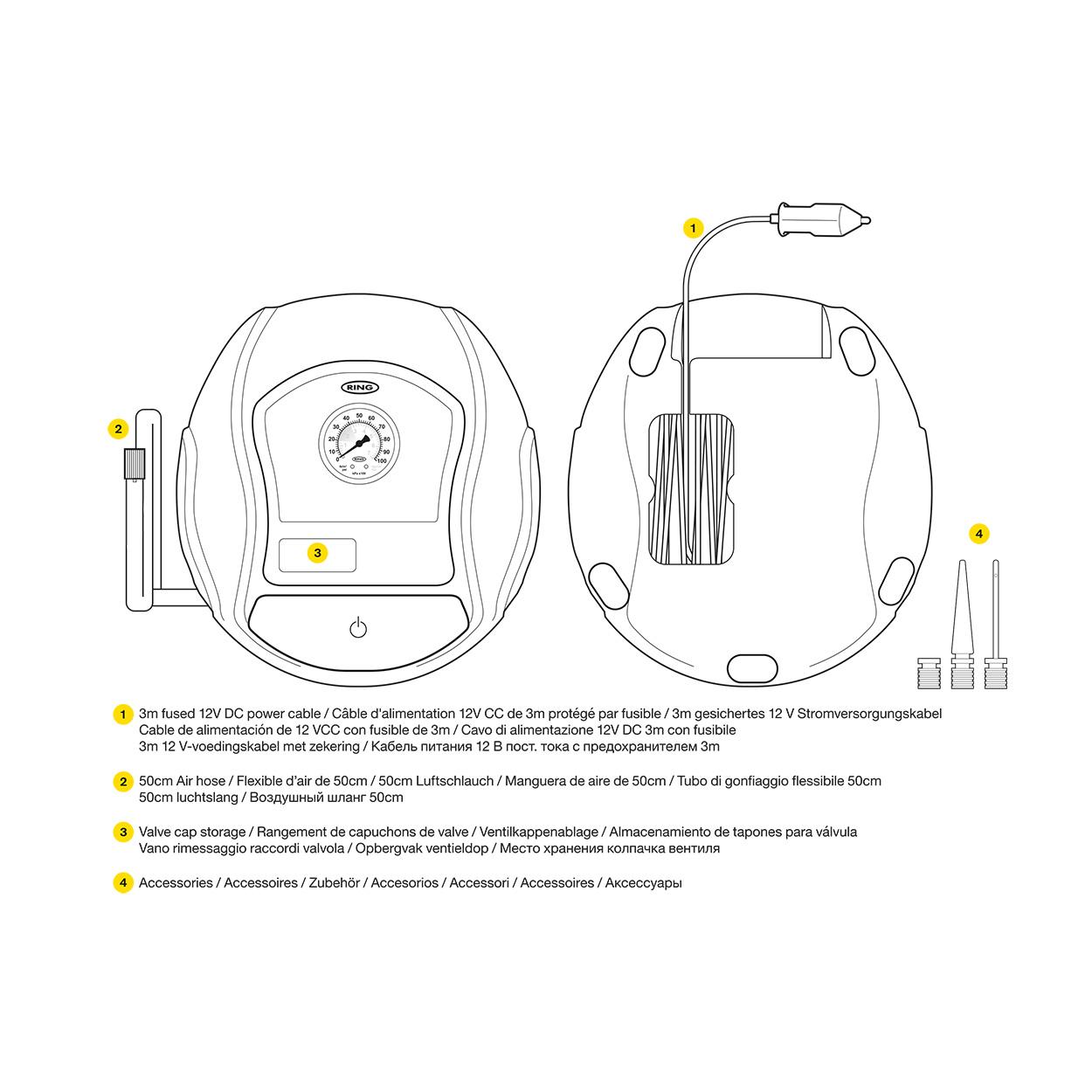 Ring Automotive RTC100 COMPRESSEUR dair Analogue