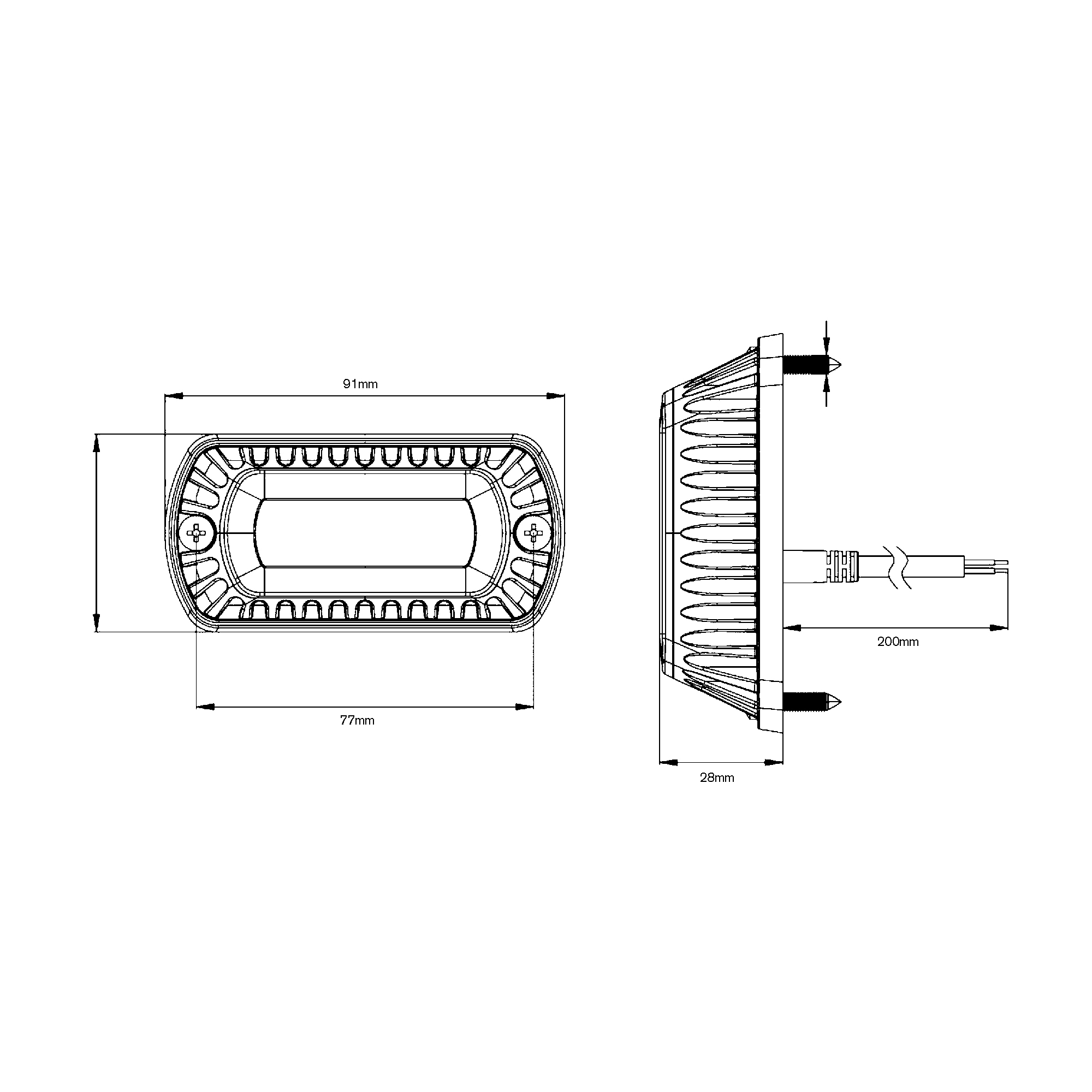RCV2212 LED Amber Strobe Light tech diagram