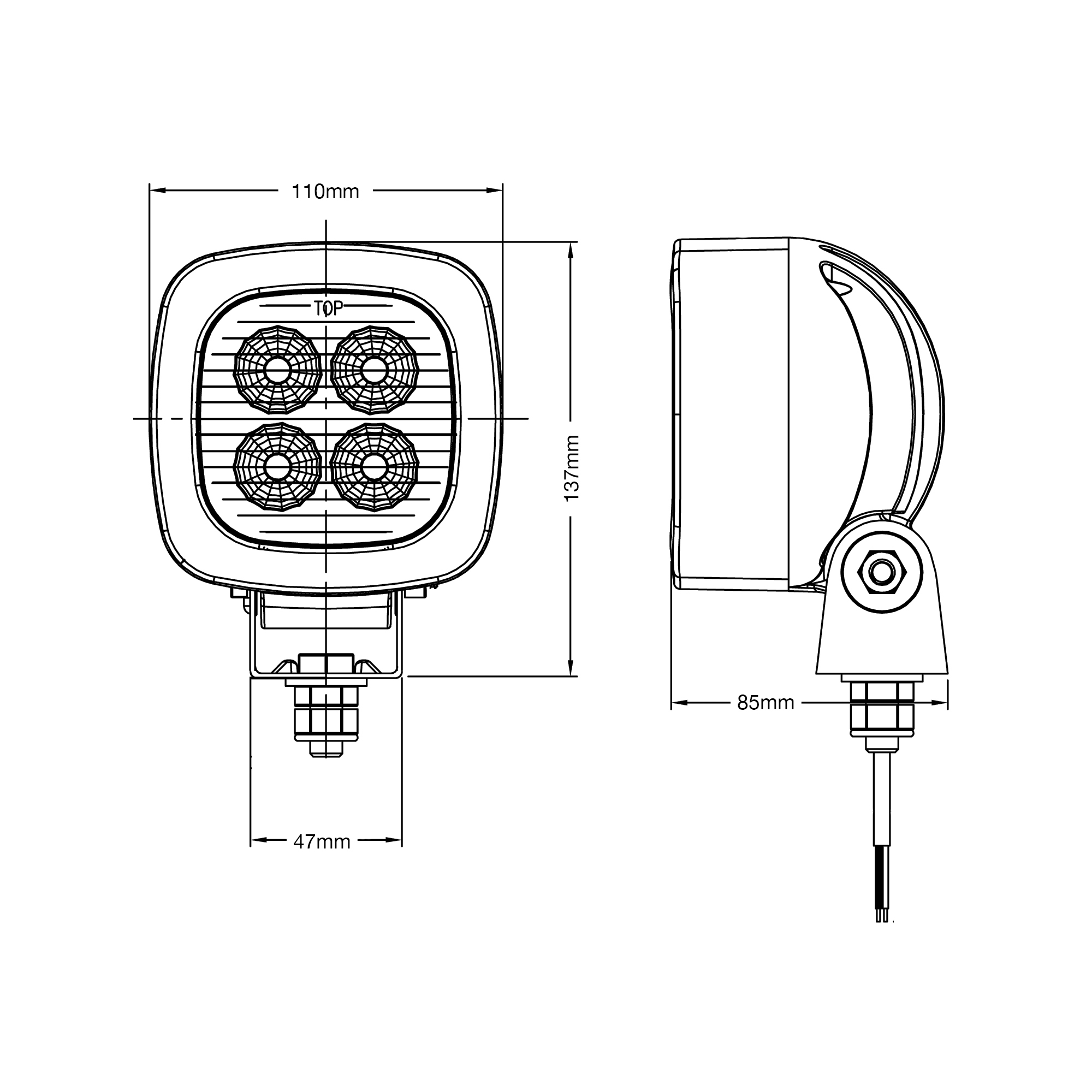 RCV9591 TruckMaster LED Work Light tech diagram