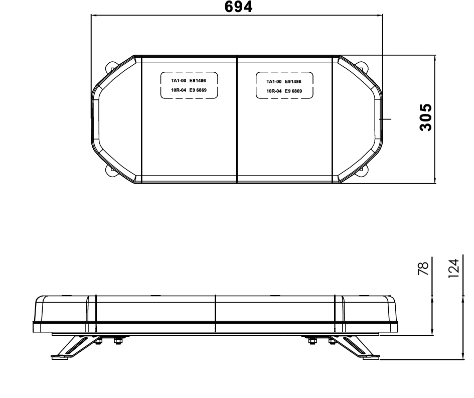 LED Amber Light Bar with Bolt Mount tech diagram