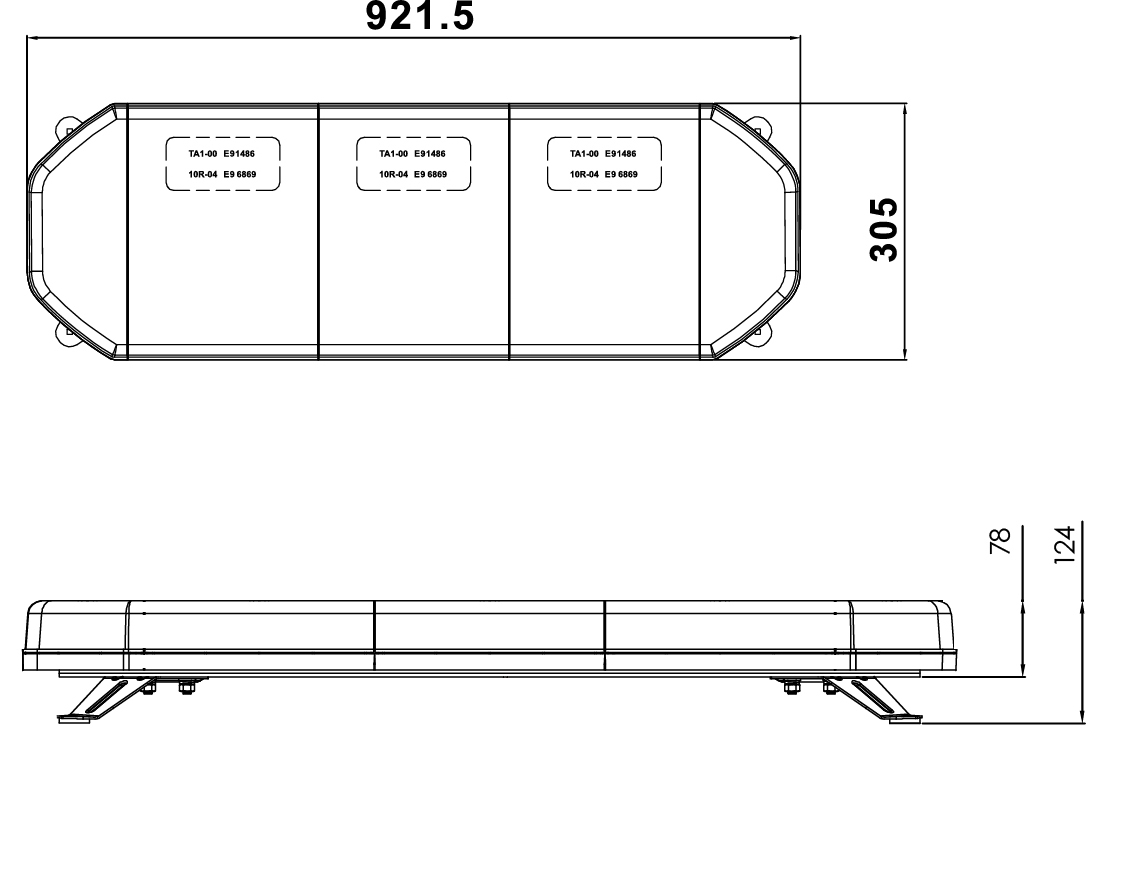 RCV9820 LED Amber Light Bar with Bolt Mount tech diagram