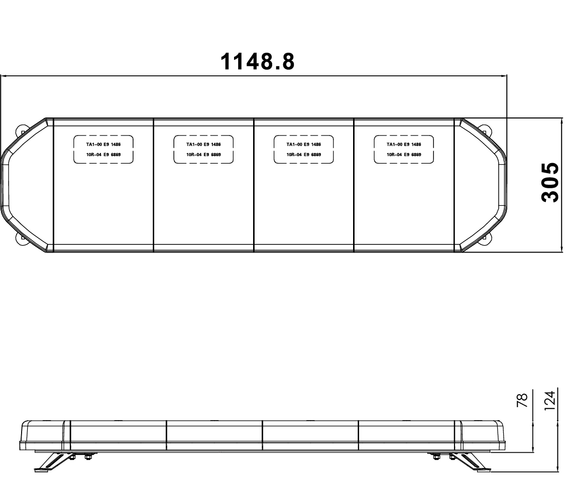 RCV9821 LED Amber Light Bar with Bolt Mount tech diagram