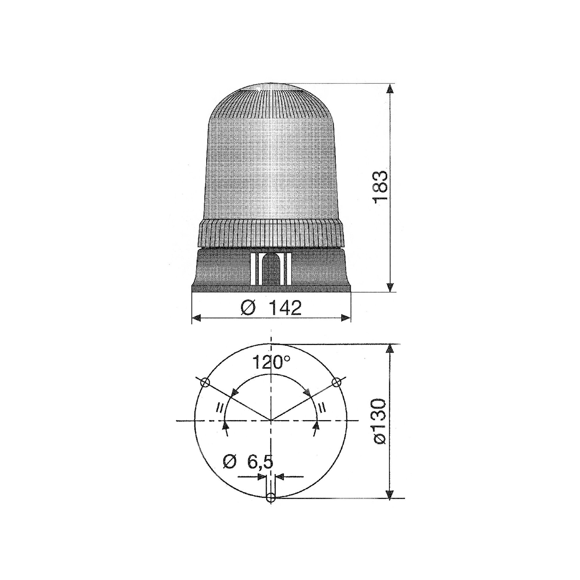 RCV9910 Amber Halogen Beacon with 3 Bolt Fixing tech diagram