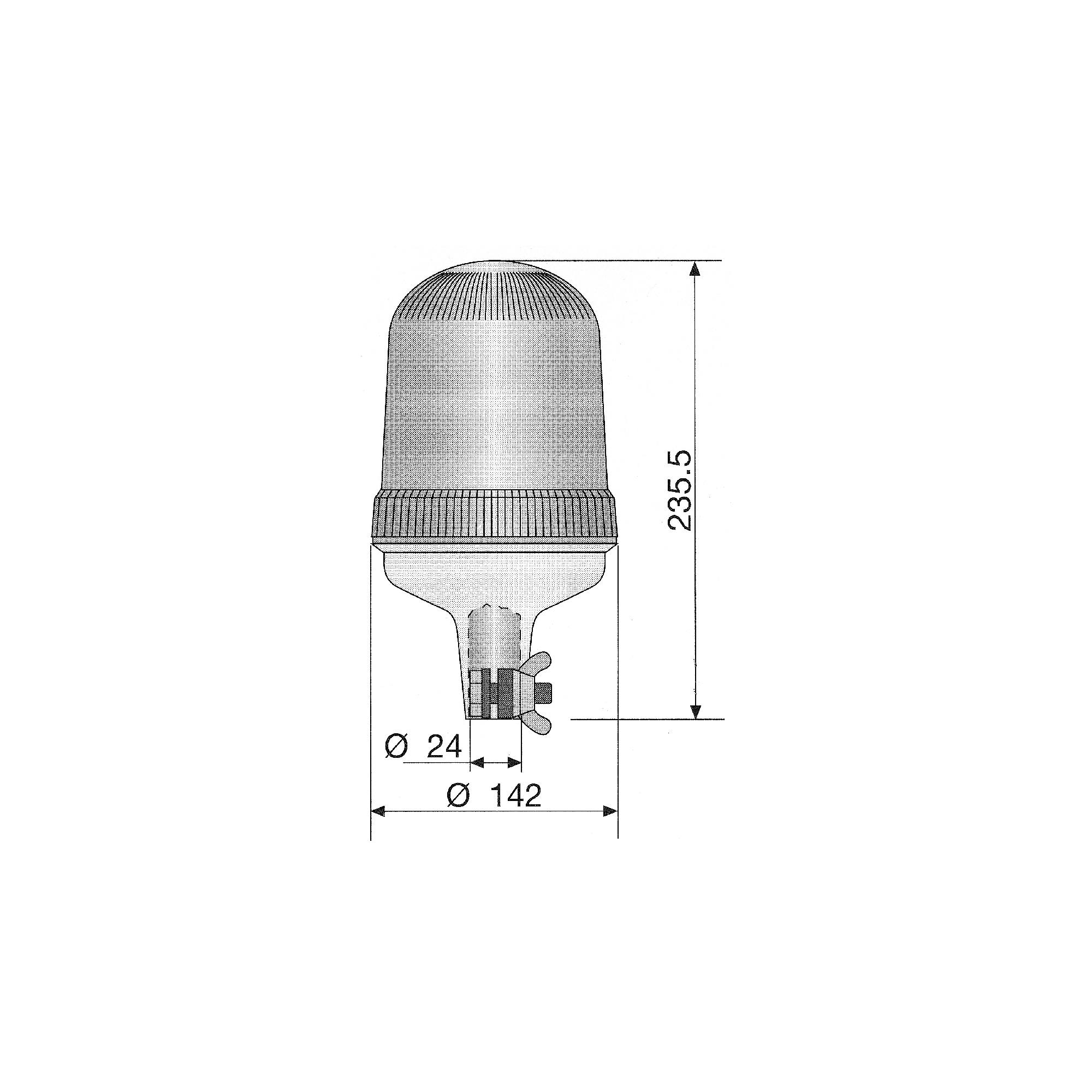 RCV9930 Amber Halogen Beacon with Pole Fixing tech diagram